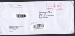 Pakistan: Registered Cover To Netherlands, 2017, Meter Cancel, R-label (creases) - Pakistan