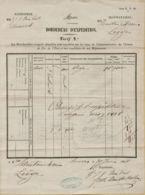 XXL-933  Invulstempel LIEGE Op BORDEREAU D'EXPEDITION 1858  Van Anvers Naar Liege - Railway