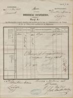 XXL-933  Invulstempel LIEGE Op BORDEREAU D'EXPEDITION 1858  Van Anvers Naar Liege - Briefe & Fragmente