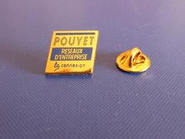 Pin's Pouyet Réseaux D'entreprise - La Connexion - Ordinateur Internet - Zamac Pichard (YH42) - Computers