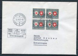 1957 Switzerland Automobil Postbureau / Mobile Post Office Cover. Fribourg 800 Jahre - Pro Patria
