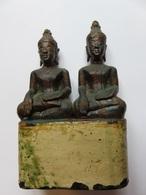 224 Statuette Duo Bouddhas En Bois Doré Vernis - Piédestal Doré Et Peint - Bois