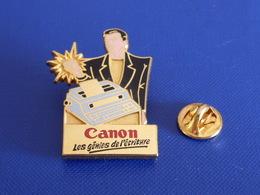 Pin's En 2 Parties - Canon Les Génies De L'écriture - Ordinateur Imprimante - Claque Des Doigts - Zamac Sofrec (YH49) - Computers