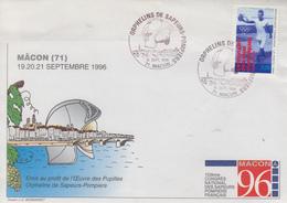 Enveloppe   FRANCE    Orphelins    Des    SAPEURS - POMPIERS     MACON    1996 - Sapeurs-Pompiers