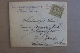 STORIA POSTALE AUSTRIA LETTERA  EXPRESS FELDPOST DA KUK FESTUNGSSPITAL NR. 1 POLA SANITAT DA POLA 3 - 1918-1945 1st Republic