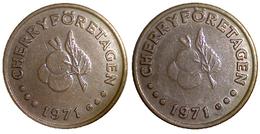 05324 GETTONE TOKEN JETON FICHA DENMARK CASINO SLOT GAMING CHERRY FORETAGEN 1971 COPPER - Casino