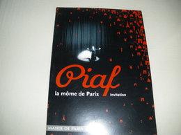 """Carton (plaquette) Invitation Exposition PIAF """"La Môme De Paris"""" - Mairie De Paris - 2003 (Bertrand Delanoë) - Unclassified"""