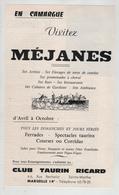 Publicité 1966 Camargue Méjanes Arènes élevages Toros Combat Club Taurin Ricard Marseille - Publicités