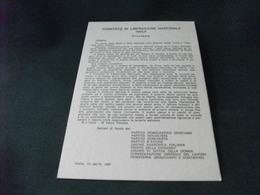 COMITATO DI LIBERAZIONE NAZIONALE IMOLA PROCLAMA PARTITO DEMOCRATICO CRISTIANO  SOCIALISTA COMUNISTA  D'AZIONE ETC 1975 - Imola