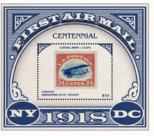 CANOUAN ST-VINCENT 2018 FF AIRPLANES SMALL SHEET STAMP ON STAMP MNH S14478-2 - Airplanes