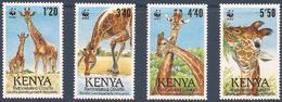 KENYA 1989 Y&T 474 à 477  Neufs ** La Girafe Réticulée - WWF - W.W.F.