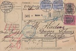 DR Paketkarte Mif Minr.76,77,2x 87I Mainz 12.12.06 Gel. In Schweiz - Deutschland