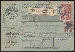 DR Paketkarte Mif Minr.90I,94AI, Leipzig 8.11.11 - Briefe U. Dokumente