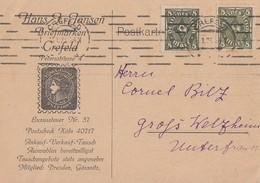 DR Karte Mef Minr.2x 229 Crefeld 13.1.23 - Deutschland