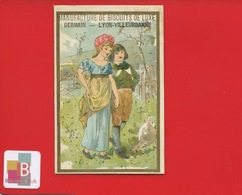 Lyon Villeurbanne Manufacture De Biscuits GERMAIN Jolie Chromo Mertens STYLE KATE GREENAWAY Amoureux - Trade Cards