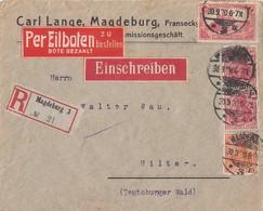 DR R-Eilbote-Brief Mif Minr.A113,141,2x 145 Magdeburg 30.9.20 Geprüft - Deutschland