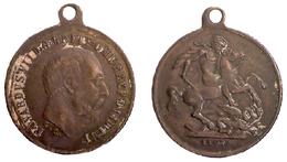 05329 MEDAGLIA MEDAL EDWARDUS VII D.G. BRITT OMN REX F.D. IND. IMP 1907 - Royal/Of Nobility