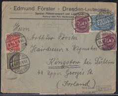 DR Brief Mif Minr.159a,18x 206,10x 209,225,230,232,6x 239,253,2x 268a Dresden 23.8.23 Gel. Nach Irland Geprüft - Deutschland