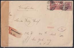 DR R-Brief Mif Minr.92II,A113 Mülheim (Ruhr) 10.1.21 Gel. In USA Zensur - Briefe U. Dokumente