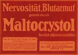 Original-Werbung/ Anzeige 1912 - MALTOCRYSTOL / DR.BRUNNENGRÄBER - ROSTOCK -  - Ca. 180 X 130 Mm - Publicités