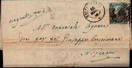 72766)  LETTERA CON 20C. SU 15C. EFFIGE DEL RE 3° TIPO DA  PALERMO A NISCEMI  IL 16-5-1866 - 1861-78 Vittorio Emanuele II