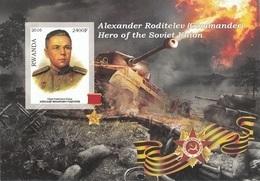 Rwanda 2016 Hero Soviet Union Eroi Russia Alexander Roditelev Imperf. MNG (Commander) - Seconda Guerra Mondiale