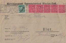 DR Ortsbrief Mif Minr.5x D74,77a München 19.7.23 Geprüft - Dienstpost