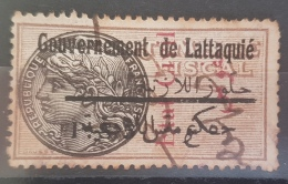 AS3 - Syria ALAOUITES 1933 Revenue Stamp- Government Of Lattaquie PS 5 But With Vertical Ovpt ETAT CIVIL -Noufous - Syria