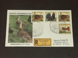 ÖSTERREICH: FDC Ersttag 9.9.1982 - Naturschutz (Großtrappe, Biber, Auerhahn) RECO - FDC