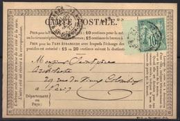 Paris R. St. DOMque St. Gn : Sage N°65 Seul Sur Cp Précurseur, 1877. - Marcophilie (Lettres)