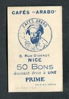 """Jeton Ticket Carton """"50 Points / Une Prime / Cafés """"Arabo"""" à Nice"""" Alpes Maritimes - Monnaie De Nécessité - Monétaires / De Nécessité"""