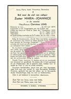 Z 315. Zuster MARIA-JOANNICE (C. LENS) - °LIER 1879 /GENT / +ST-TRUIDEN 1954 - Devotion Images