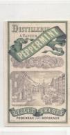 étiquette -  1900/30 - PEPPERMINT Distillerie à Vapeur Podensac LILLET Frères - Whisky
