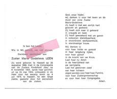 Z 316. Zuster MARIE GODELIEVE LEËN - °HASSELT 1899 / Congregatie Zusters Kindsheid Jesu / +HASSELT 1974 - Devotion Images