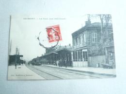 1909 JEUMONT LA GARE VUE INTERIEURE  EDITIONS RONFLETTE CIRCULÉE DOS DIVISE ETAT BON - Jeumont