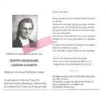Z 319. Zuster JAQUELINE (LANGERS E.) - Ursuline Bisdom HASSELT - °ELEN 1918 / MAASEIK / +ST-TRUIDEN 1998 - Devotion Images