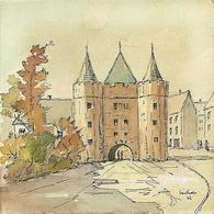 Watercolour Landscape Painting, Pen & Ink Drawings Of An Old Castle Tower Fort Gateway, Signed & Dated 1962. - Watercolours