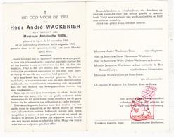 DP André Wackenier ° Ieper 1908 † 1965 X Antoinette Riem / Herremans Duflou Coffyn Bouw De Ruddere - Devotion Images