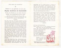 DP Aloisia De Bleecker / De Roo ° Sleidinge Evergem 1925 † 1966 / Vereecke - Devotion Images
