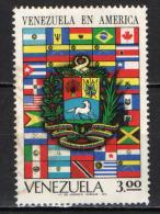 VENEZUELA - 1972 - BANDIERE AMERICANE E STEMMA DEL VENEZUELA - USATO - Venezuela