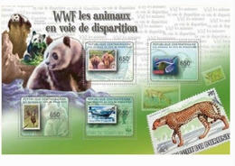 CENTRAL AFRICA 2012 WWF PANDA WILD ANIMALS STAMP ON STAMP 1 OF 2 PERF 14990-15 - Stamps On Stamps
