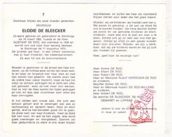 DP Elodie De Bleecker ° Sleidinge Evergem 1892 † 1973 X Gustaaf De Roo / Verdegem Willems Demaret Lippens - Devotion Images