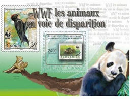 CENTRAL AFRICA 2012 WWF PANDA WILD ANIMALS STAMP ON STAMP 2 OF 2 PERF 14992-14 - Stamps On Stamps