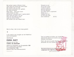 DP Emma Saey ° OostEeklo Assenede 1890 † 1980 X Camiel De Bleecker / G. Gezelle - Devotion Images