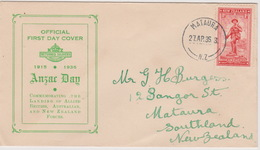 New Zealand 1936 ANZAC 1d Red Green Cover, - FDC