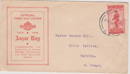 New Zealand 1936 ANZAC 1d Red,red Cover,FDC - FDC