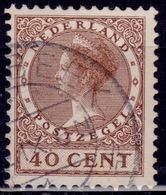 Netherlands, 1926-39, Wilhelmina III, 40c, Sc#191, Used - 1891-1948 (Wilhelmine)