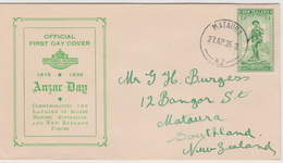 New Zealand 1936 ANZAC Half Penny Green,green Cover,,FDC - FDC