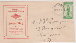New Zealand 1936 ANZAC Half Penny Green,red Cover,FDC - FDC