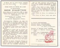 DP Marie D'Huvettere ° Ieper 1887 † 1958 / Hachez Chevalier Tyberghein Delaunois - Devotion Images